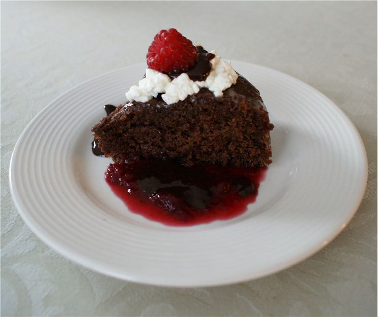 Chocolate Cakewith Rasberry Sauce and Cottage Cheese