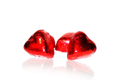 Chocolate Hearts with Red Foil